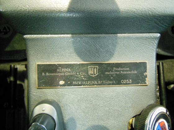 B7 Turbo 3 dash plaque